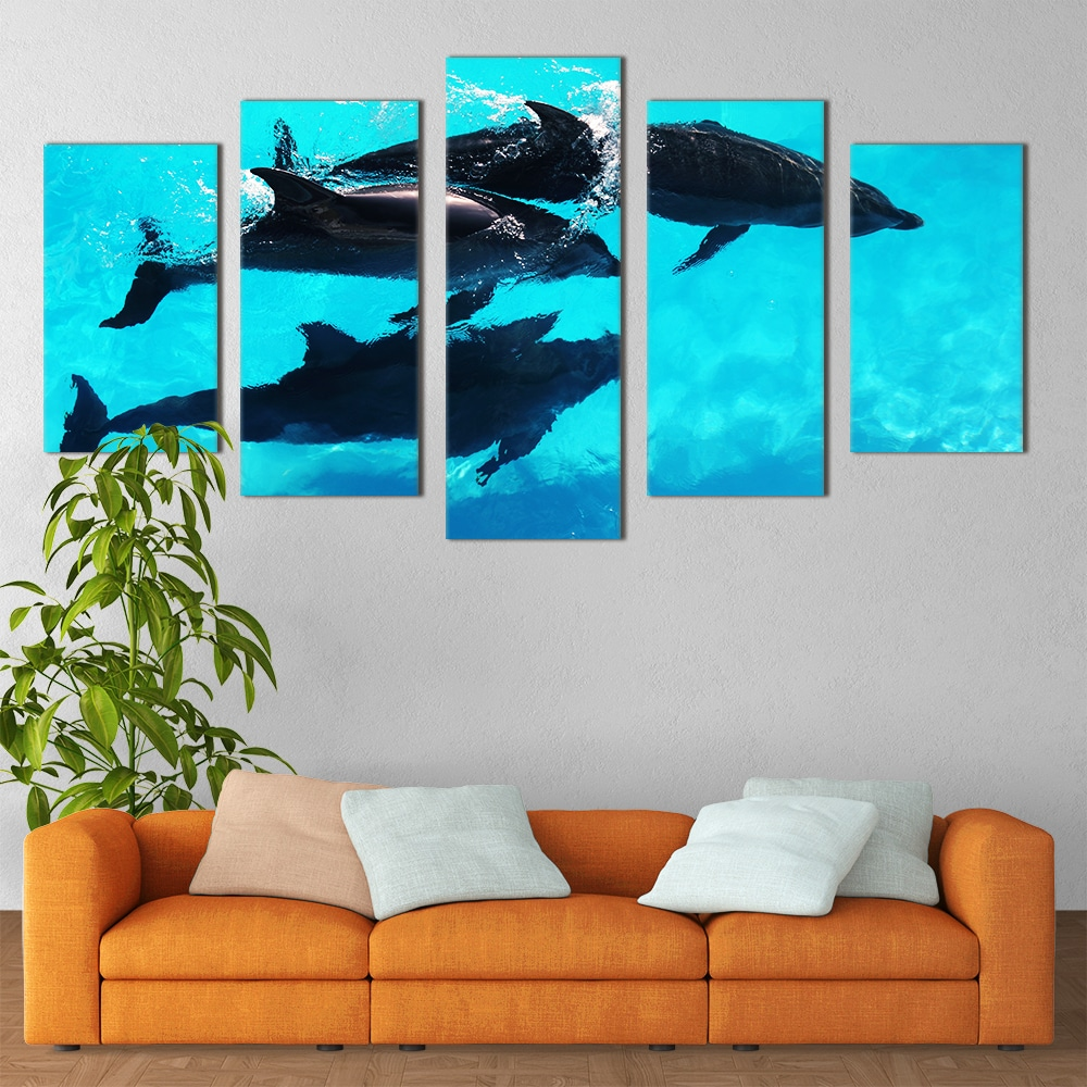 Swimming Dolphins - Beautiful Home Décor | Unique Canvas