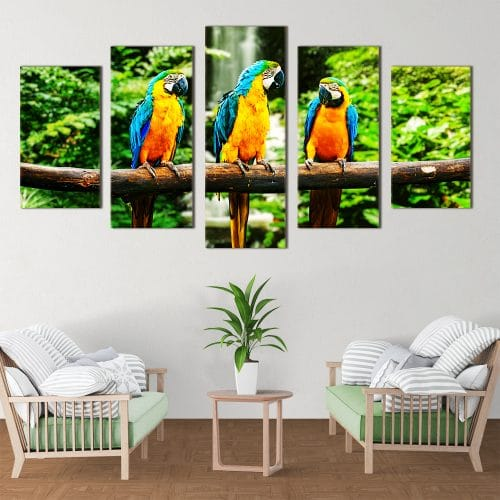 Trio of Parrots - Beautiful Home Décor | Unique Canvas