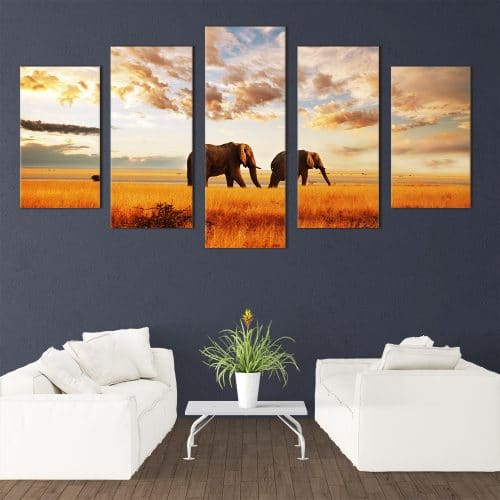 Walking Elephants - Beautiful Home Décor | Unique Canvas