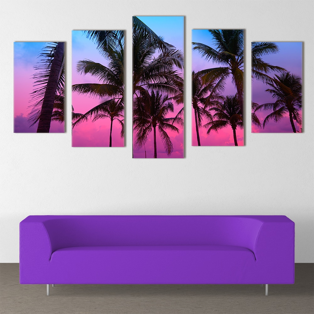 Palm Trees Magical Night - Beautiful Home Décor | Unique Canvas