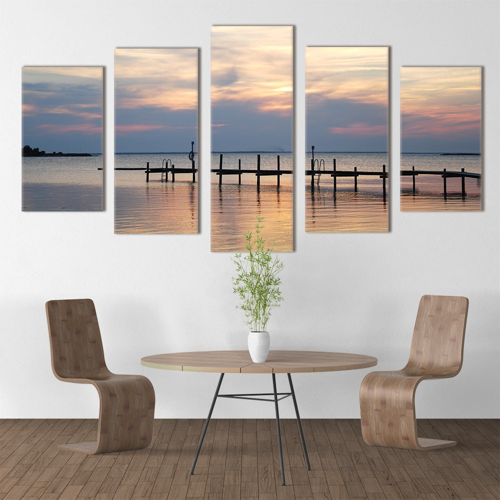 Sea Pier at Sunset - Beautiful Home Décor | Unique Canvas
