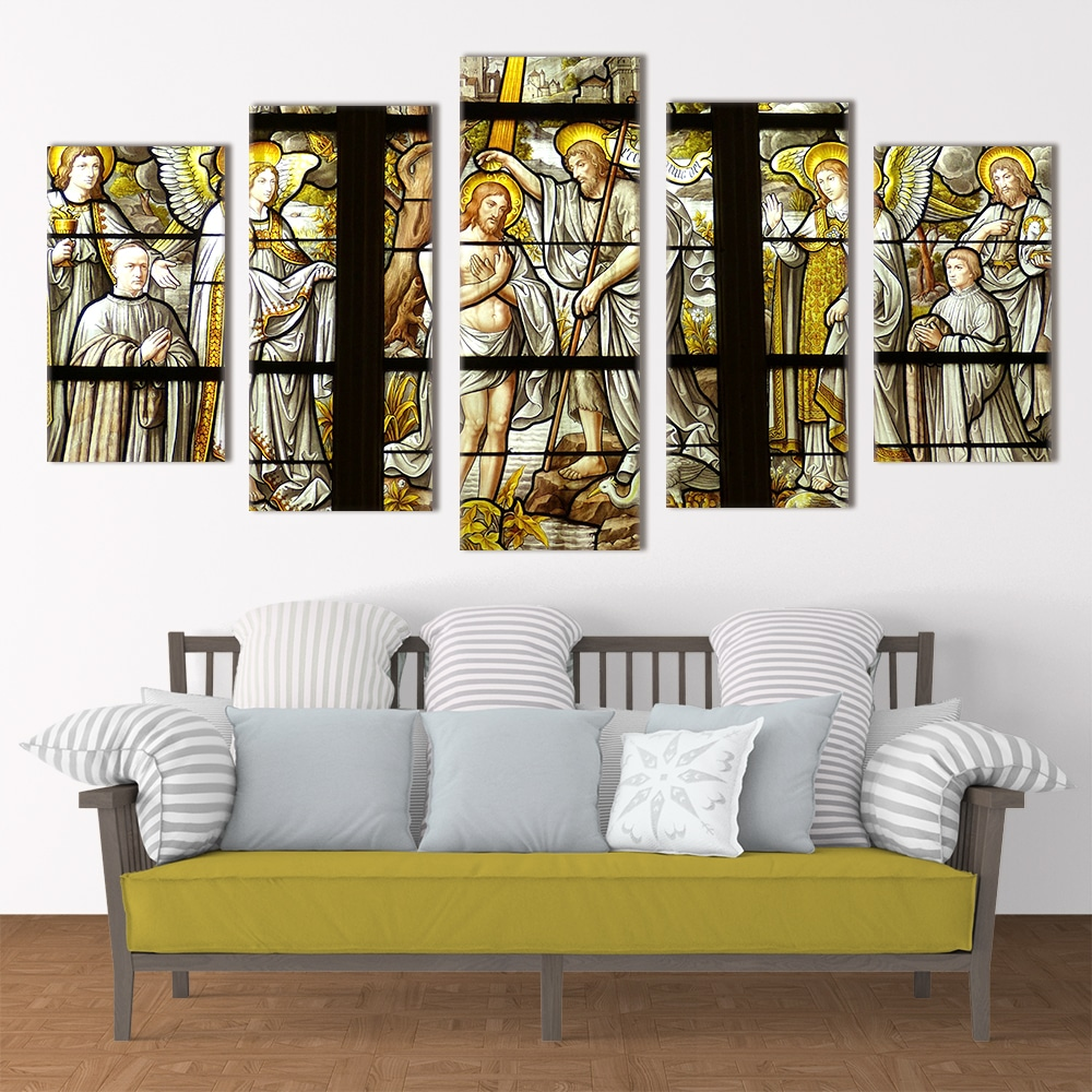 Baptism Window Religious Art Unique Canvas