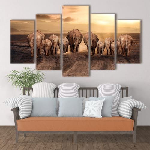 Elephant Family - Beautiful Home Décor | Unique Canvas