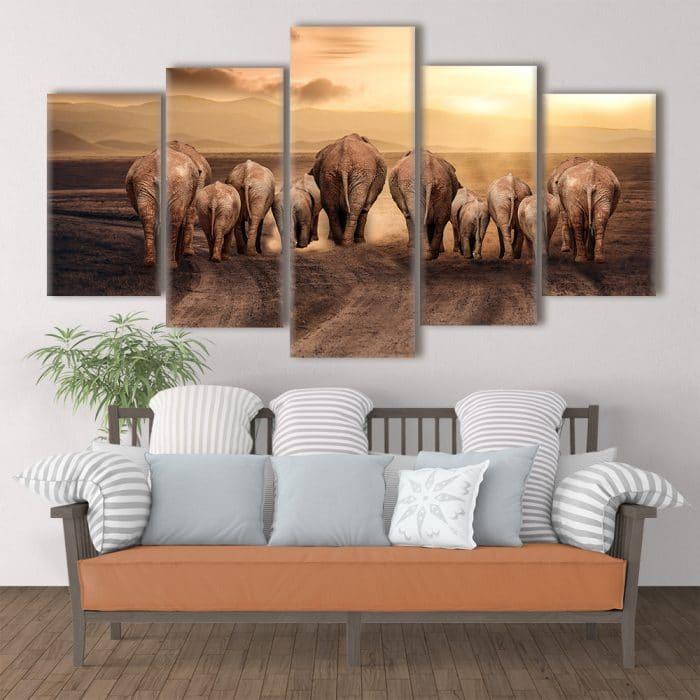 Elephant Family - Beautiful Home Décor | Unique Canvas