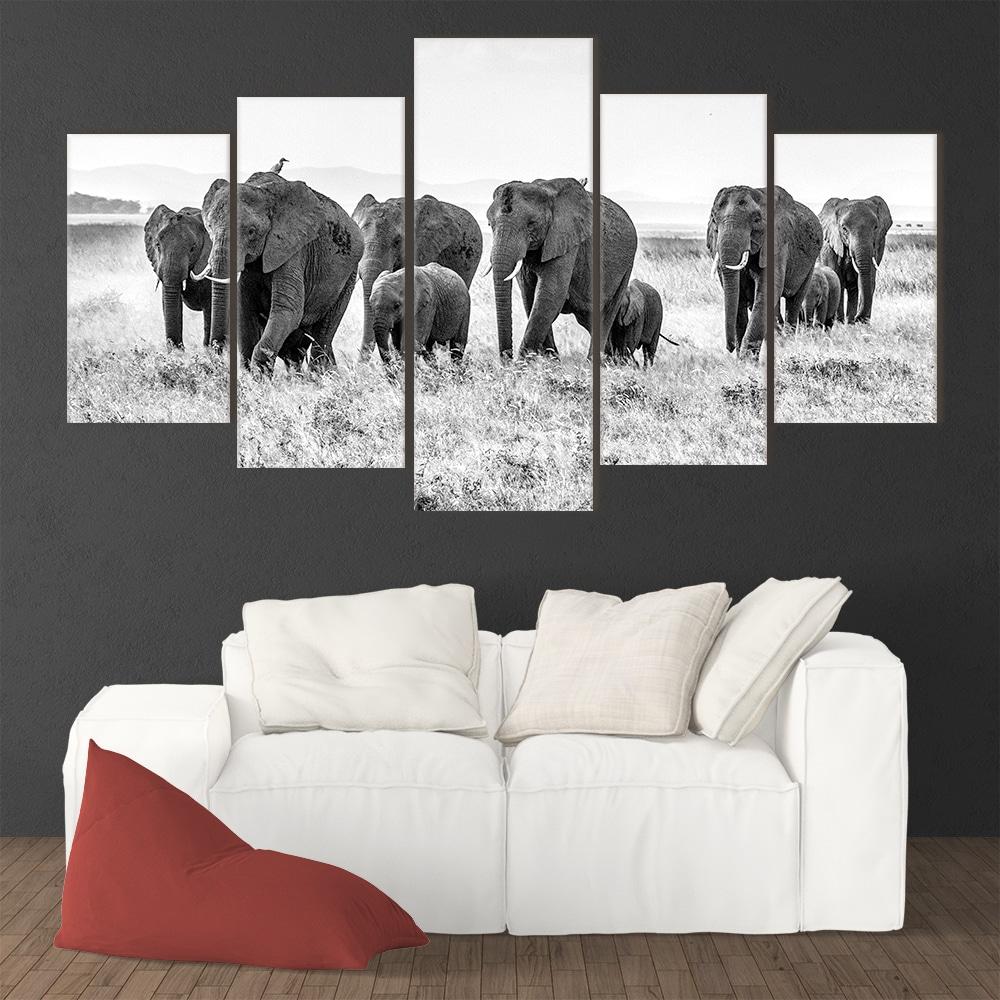 Herd of Elephants - Beautiful Home Décor | Unique Canvas