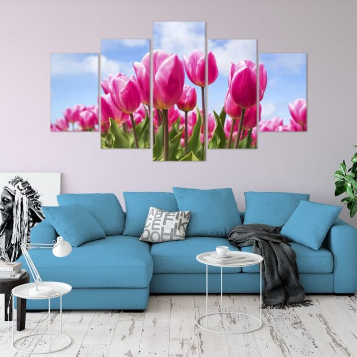Buy Pink Tulips Love & Flowers Unique Canvas