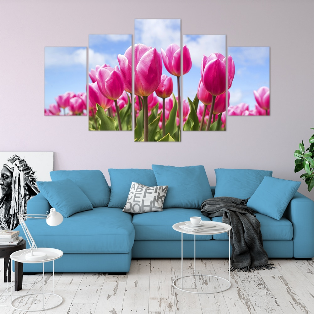 Buy Pink Tulips Love & Flowers Unique Canvas