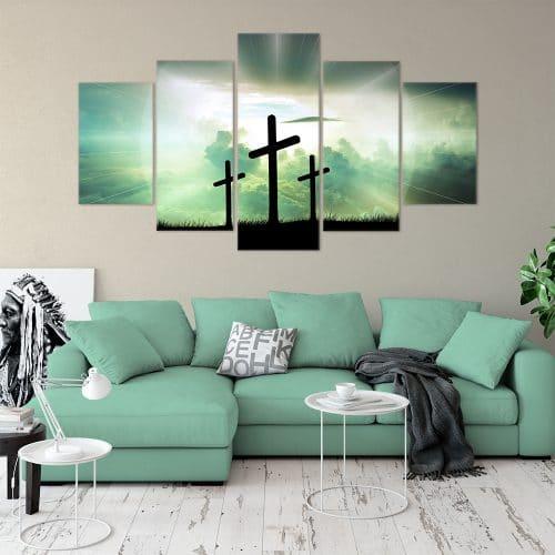 Twilight Crosses Religious Art Unique Canvas