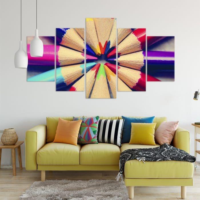 Coloured Pencils Art Unique Canvas