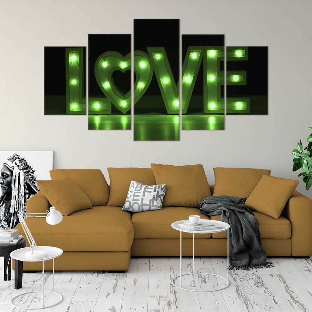 Buy Love in Lights Love & Flowers Unique Canvas