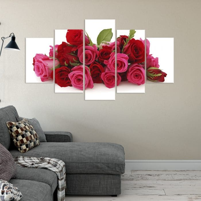 Buy Pink & Red Roses Love & Flowers Unique Canvas