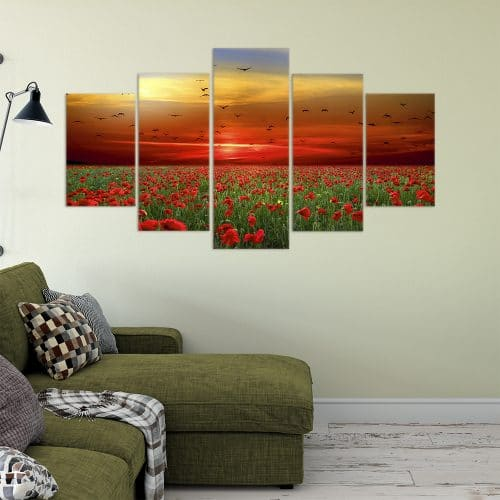 Buy Poppy Field Love & Flowers Unique Canvas