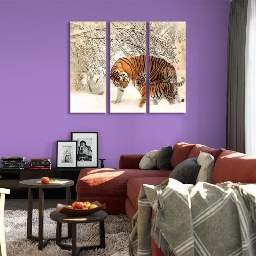 Tiger Family in Snow - Beautiful Home Décor | Unique Canvas