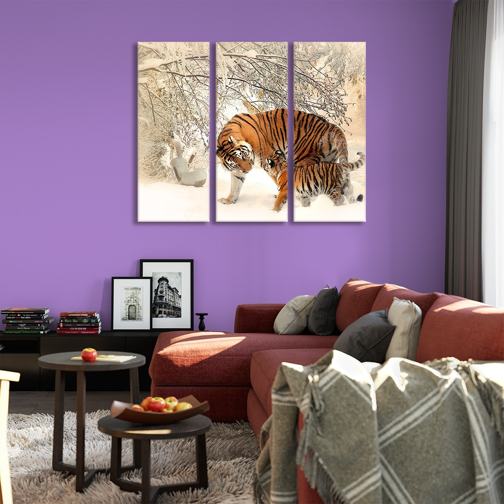 Tiger Family in Snow - Beautiful Home Décor | Unique Canvas
